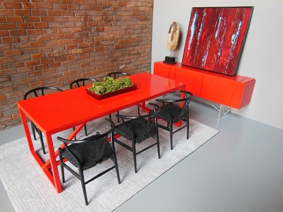 Paris Renfroe Red Modern Dollhouse Dining Room Furniture