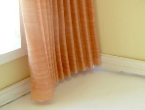 Pleated Peach Dollhouse Curtains 1/12 scale